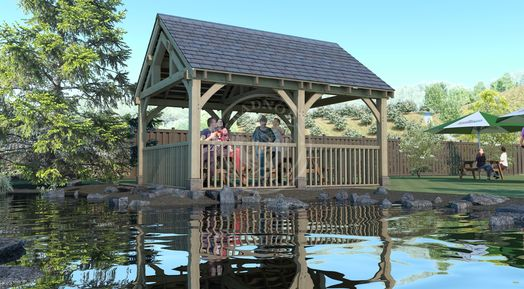 Oak Framed Pavilion | Enclosed Garden Eating area