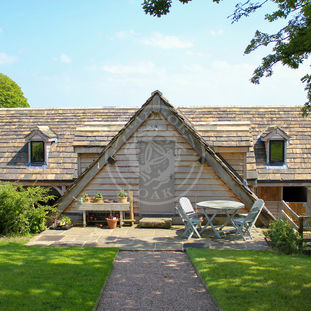 Oak Framed Garage with Room above | Radnor Oak | Dormer Windows and heavy slate tiles | Guest Accommodation