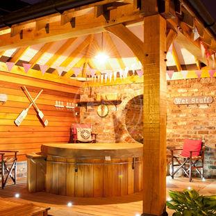 Oak Framed Garden Gazebo   Hot Tub Cover   Radnor Oak