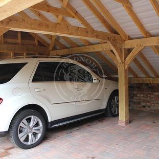 Interior of a Kinsham 2 bay oak framed Garage