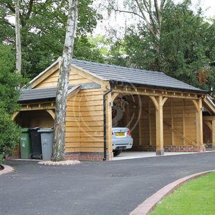 2 bay open fronted timber framed garage | Bespoke Log Store | Radnor Oak