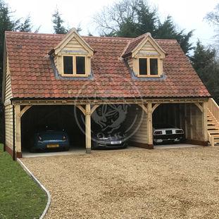 3 Bay Garage with Room Above | Open Fronted | 2 Dormer Windows | Carport | Radnor Oak