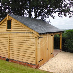 Walton 2 Bay Oak framed Garage | One Bay Enclosed with Double Doors | Radnor Oak | Garden & Outdoor Storage