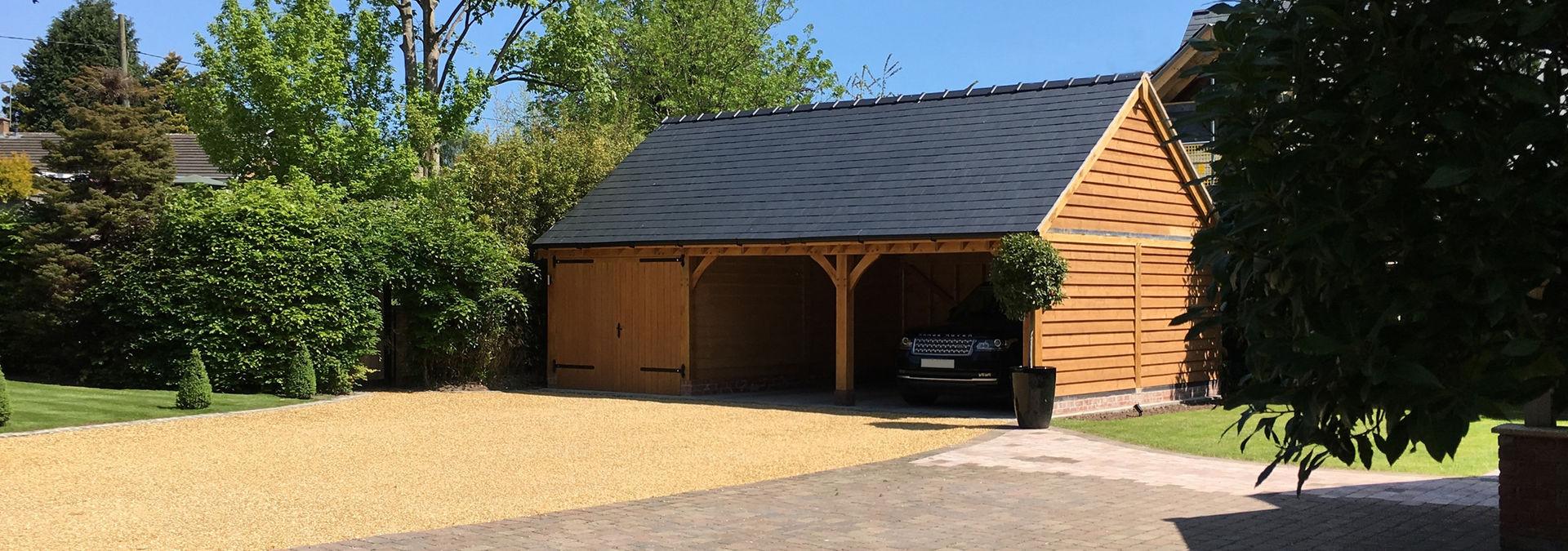 3 Bay Oak Framed Garage | Byton High Ridge | Radnor Oak Buildings