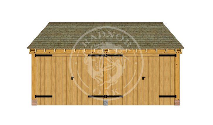 2 Bay oak framed Garage with heavy duty double doors on both bays | Byton Low Ridge |  Model No. BYL2004 | Radnor Oak buildings