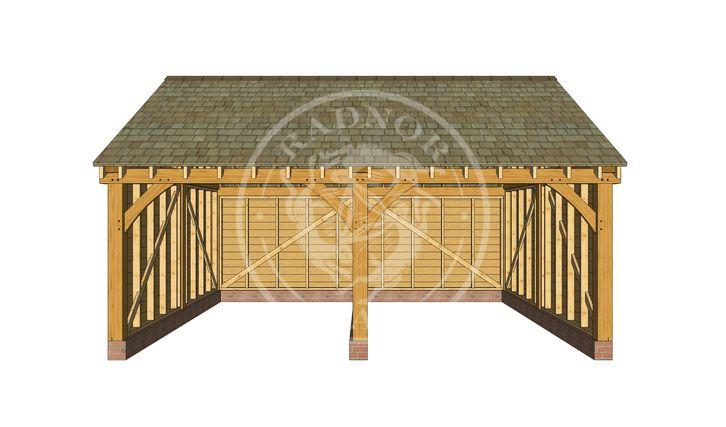 BYL2007   2 Bay Byton Low Ridge Oak Framed Garage   Radnor Oak
