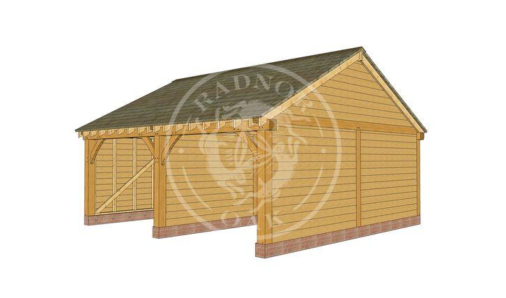 BYL2007 | 2 Bay Byton Low Ridge Oak Framed Garage | Radnor Oak