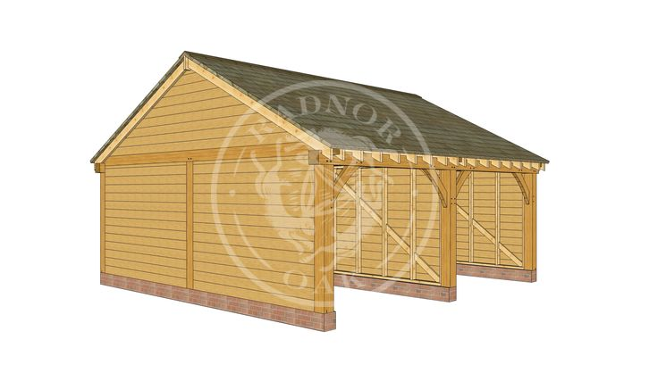 BYL2007 | 2 Bay Byton Low Ridge | Oak Framed Garage | Front Left | Radnor Oak