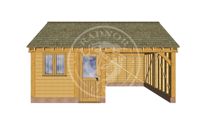 2 Bay Oak framed Garage and workshop | Byton Low Ridge | Model No. BYL2013 | Radnor Oak
