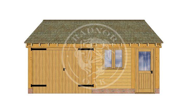 2 Bay Oak framed Garage and workshop | Byton Low Ridge | Model No. BYL2022| Radnor Oak buildings