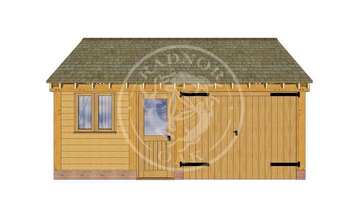 2 Bay Oak framed workshop with Garage | Byton Low Ridge | Model No. BYL2025 | Front Elevation | Radnor Oak buildings