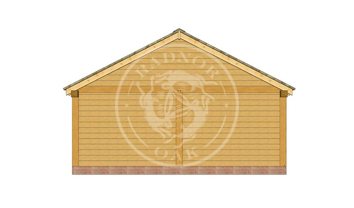 2 Bay Oak framed workshop and Garage with double doors | Byton Low Ridge | Model No. BYL2025 | Right Elevation | Radnor Oak buildings
