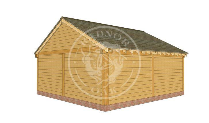 2 Bay Oak framed workshop and Garage with double doors | Byton Low Ridge | Model No. BYL2025 | Back Right Elevation | Radnor Oak buildings