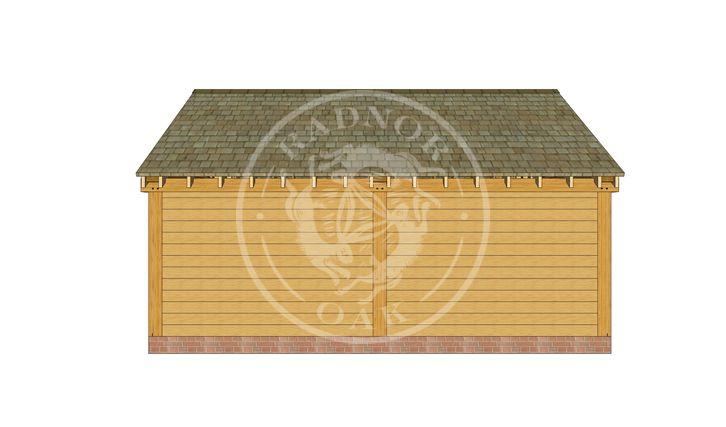 2 Bay Oak framed workshop and Garage with double doors | Byton Low Ridge | Model No. BYL2025 | Rear Elevation | Radnor Oak buildings