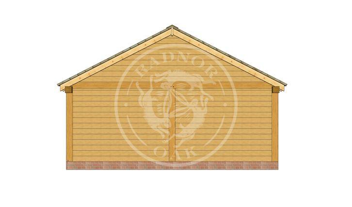 2 Bay Oak framed workshop and Garage with double doors | Byton Low Ridge | Model No. BYL2025 | Left Elevation | Radnor Oak buildings