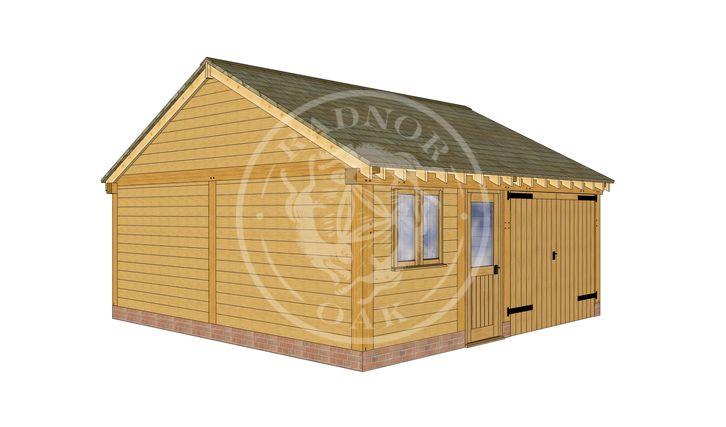 2 Bay Oak framed workshop and Garage with double doors | Byton Low Ridge | Model No. BYL2025 | Front Left Elevation | Radnor Oak buildings