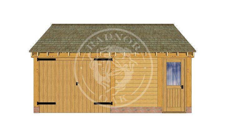 2 Bay Oak framed Garage and workshop | Byton Low Ridge | Model No. BYL2028 | Front Elevation | Radnor Oak