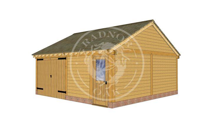 2 Bay Oak framed Garage and workshop | Byton Low Ridge | Model No. BYL2028 | Front Right Elevation | Radnor Oak