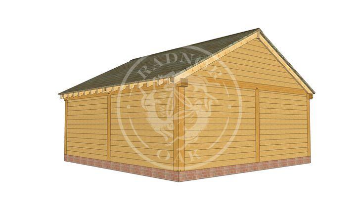 2 Bay Oak framed Garage and workshop | Byton Low Ridge | Model No. BYL2028 | Rear Corner | Radnor Oak