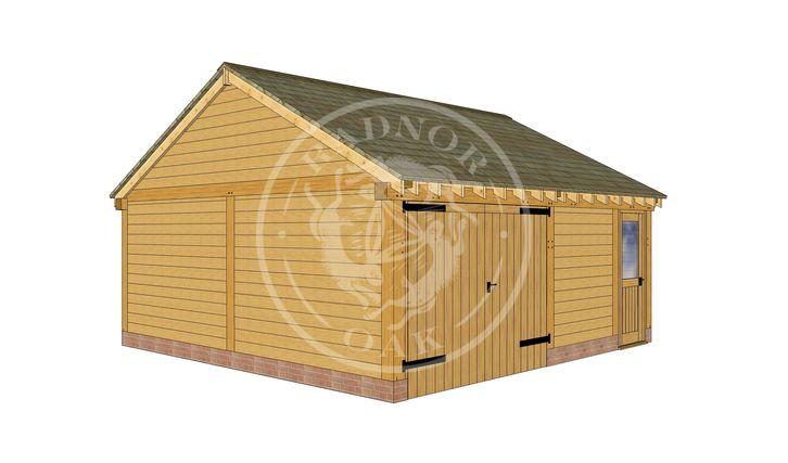 2 Bay Oak framed Garage and workshop | Byton Low Ridge | Model No. BYL2028 | Front Left Elevation | Radnor Oak