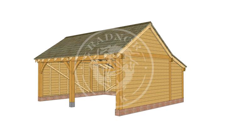 KI2001 | The Kinsham | 2 Bay open fronted Oak Framed Garage | Radnor Oak