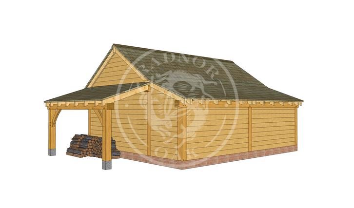 KI2002 | The Kinsham | 2 Bay open fronted oak garage with a log store | Radnor Oak