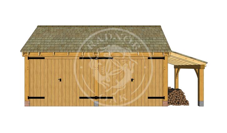 KI2005 | The Kinsham | 2 Bay Oak Framed Garage with double doors and a log store | Radnor Oak
