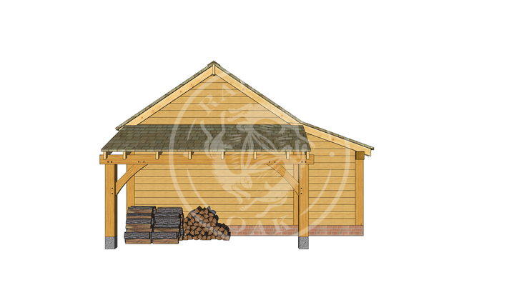KI2008   The Kinsham   2 Bay Oak garage with a log store   Radnor Oak