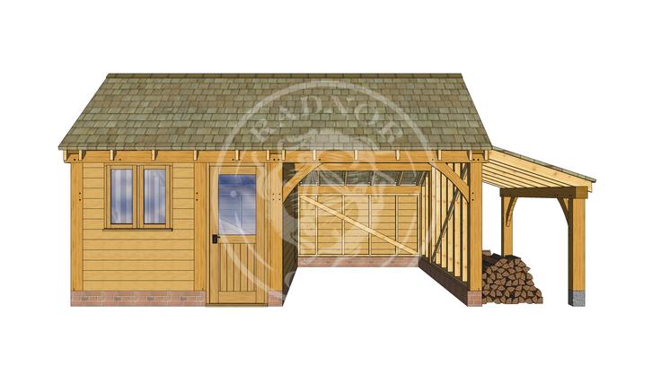 KI2014 | The Kinsham | Oak Garage and workshop with a log store | Radnor Oak