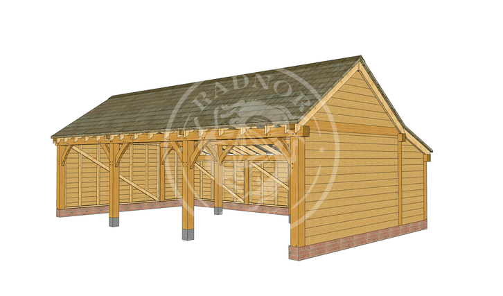KI3001 | The Kinsham | Open Fronted Oak Framed Garage | Radnor Oak