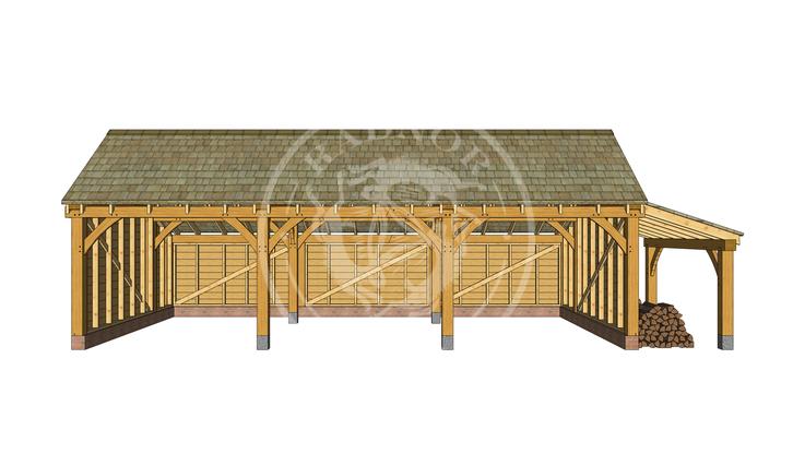 KI3002 | The Kinsham | 3 Bay open fronted oak Framed garage with a log store | Radnor Oak