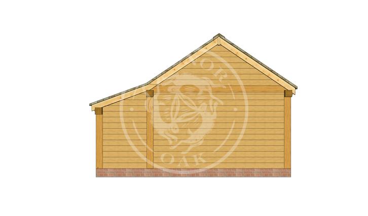 KI3004 | The Kinsham | 3 Bay Oak Framed Garage with double doors on 2 bays | Radnor Oak