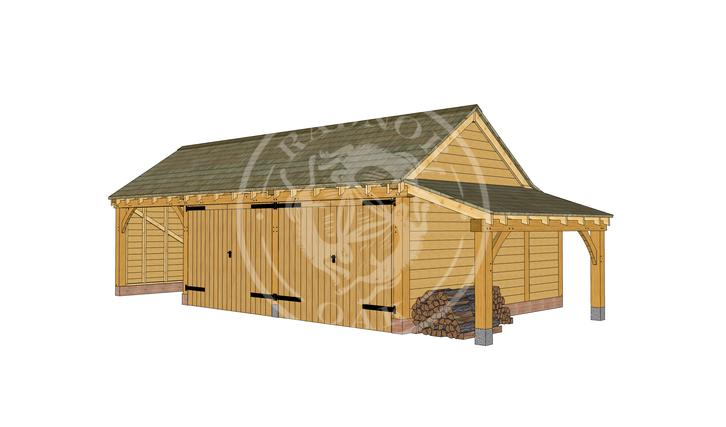 KI3005 | The Kinsham | 3 Bay Oak Framed Garage with 2 enclosed bays | Radnor Oak