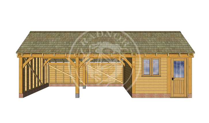 KI3007 | The Kinsham | 3 Bay Oak Framed Garage with a workshop | Radnor Oak