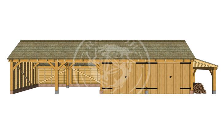kI4005 | The Kinsham | 4 Bay Oak Framed Garage | Radnor Oak