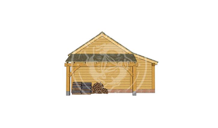 kI4008   The Kinsham   4 Bay Oak Framed Garage   Radnor Oak