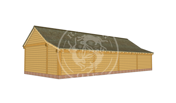 kI4016   The Kinsham   4 Bay Oak Framed Garage   Radnor Oak