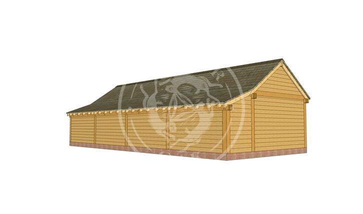 kI4017 | The Kinsham | 4 Bay Oak Framed Garage | Radnor Oak