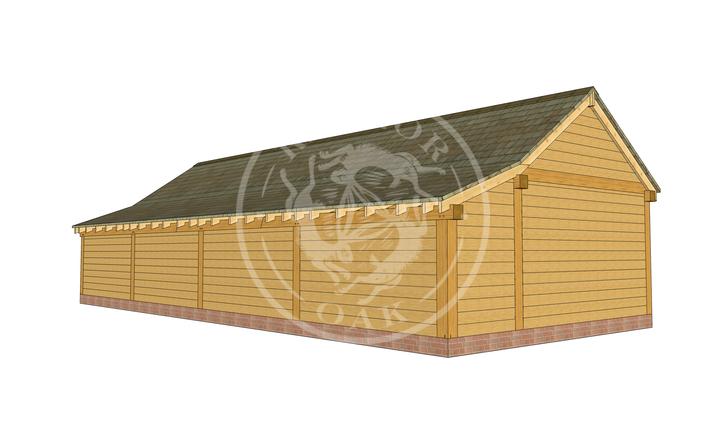 kI4019 | The Kinsham | 4 Bay Oak Framed Garage | Radnor Oak