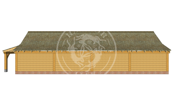kI4026   The Kinsham   4 Bay Oak Framed Garage   Radnor Oak