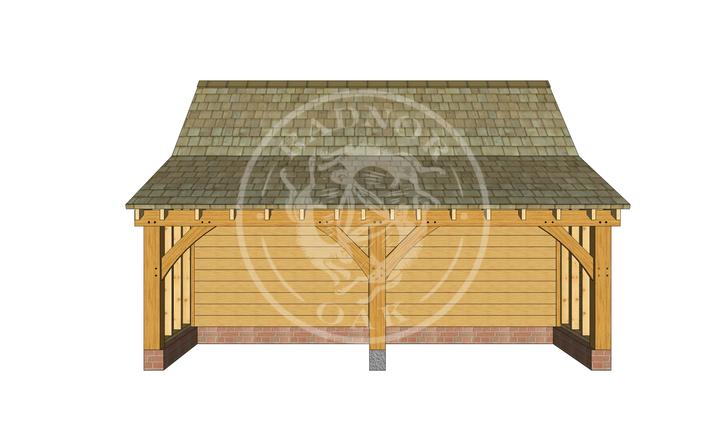 S003 | The Stapleton | Single Garage with Log store | Radnor Oak |S003 | The Stapleton | Single Garage with Log store | Radnor Oak |
