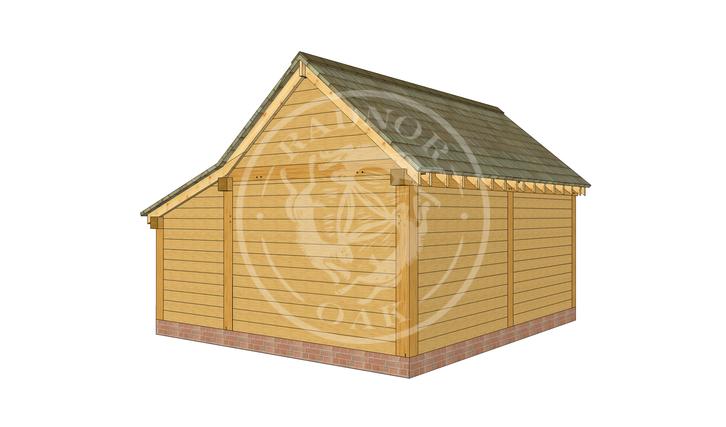S003 | The Stapleton | Single Garage with Log store | Radnor Oak |