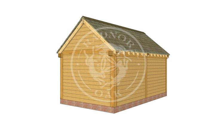S002   Stapleton   Single Bay Oak Framed Garage with Double Doors   Radnor Oak
