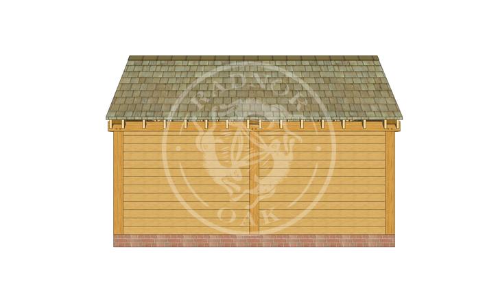 S002 | Stapleton | Single Bay Oak Framed Garage with Double Doors | Radnor Oak