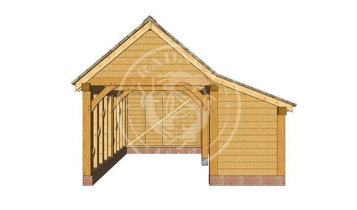S007 | Radnor Oak | Single bay Garage With Side Store | Oak Framed Garage