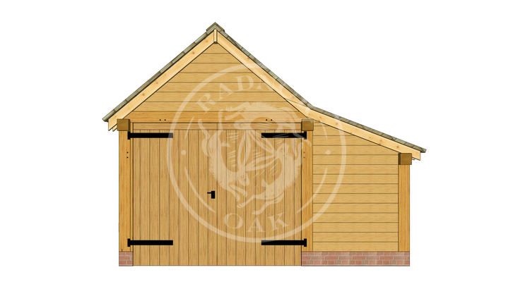 S009 | Radnor Oak | Single Garage with Double Doors & Store | Front View