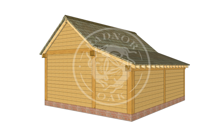 Model No. S010 | Radnor Oak | Single bay Garage with Double Doors | Back Left Angle