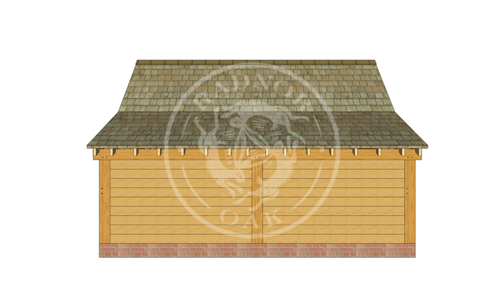 Model No. S010 | Radnor Oak | Single bay Garage with Double Doors | Back Right Angle