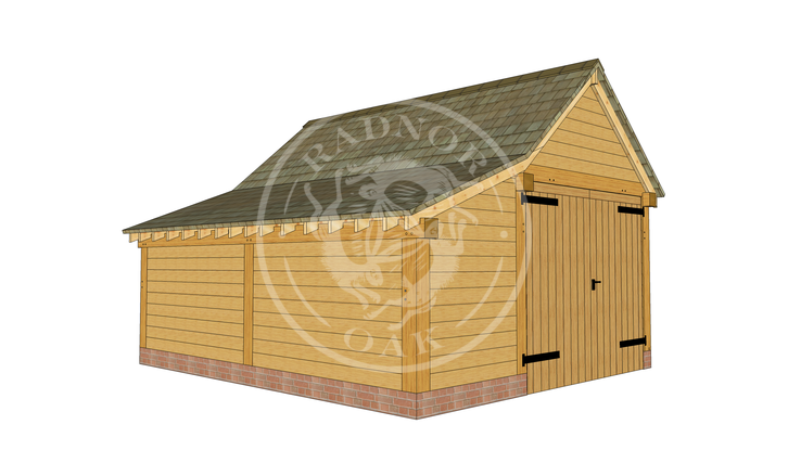 Model No. S010 | Radnor Oak | Single bay Garage with Double Doors | Front Left Angle