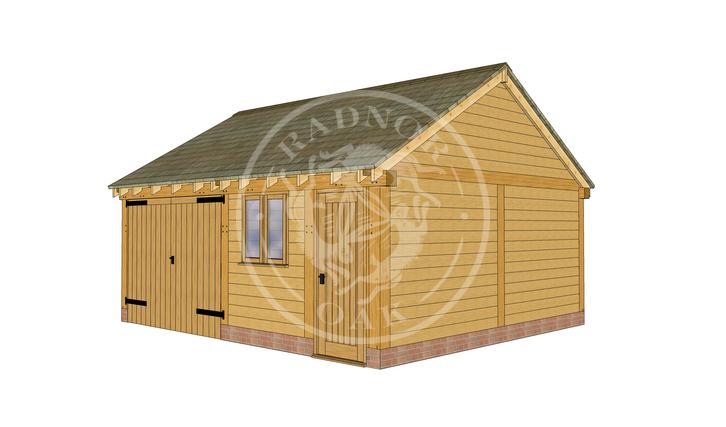 WA2022   The Walton   2 Bay Oak Framed Garage with Workshop   Radnor Oak